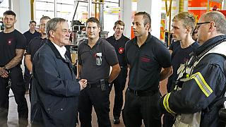 NRW Ministerpräsident Armin Laschet im Hochwasser-Gebiet