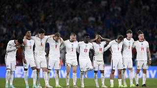 English players during the penalty shootout of the Euro 2020 final match between England and Italy at Wembley stadium in London, July 11, 2021.