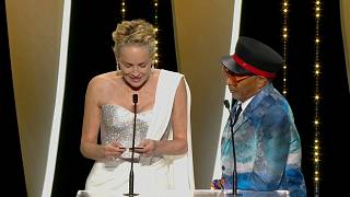 Sharon Stone and Spike Lee announcing the Palme d'or