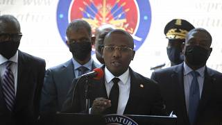 Haiti's interim Prime Minister Claude Joseph gives a press conference in Port-au-Prince, Friday, July 16, 2021