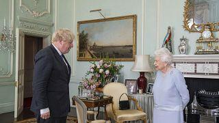 Britain's Queen Elizabeth II greets Prime Minister Boris Johnson