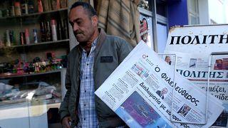 Güney Kıbrıs'ta bir gazete bayii