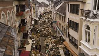Rubbish cleaned by town residents lays in the streets of Bad Neuenahr-Ahrweiler, Germany, Monday July 19, 2021.
