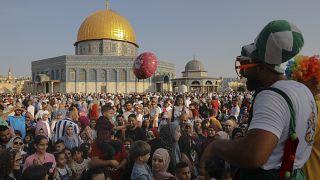 Opferfest in Jerusalem: Clowns an der Al-Aqsa-Moschee
