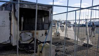 The fire damaged a coronavirus testing facility in the Dutch fishing village of Urk.