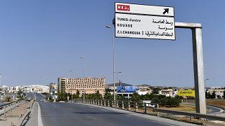 أحدى الطرق الرئيسية والسريعة في تونس خالية من السيارات بسبب القيود المفروضة للحد من تفشي وباء كورونا. 10/07/2021