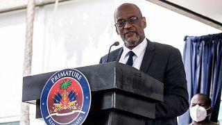 رئيس وزراء هايتي المعين أرييل هنري خلال مراسم تنصيبه. 20/07/2021