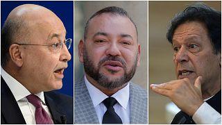 من اليمين: رئيس وزراء باكستان عمران خان (AFP)، العاهل المغربي الملك محمد السادس (AP)، والرئيس العراقي برهم صالح (AP)