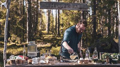 Emil Åreng, an award winning cocktail book author at Huuva Hideaway in the north of Sweden