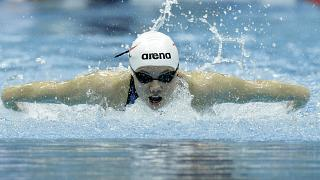 Alicja Tchorz competes in a heat for the women's 200m individual medley during the 2012 British Swimming Championship selection trials.