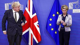 European Commission President Ursula von der Leyen welcomes British Prime Minister Boris Johnson prior to a meeting at EU headquarters.