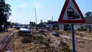 Destrozos causados por las inundaciones en la vía férrea, Alemania 21/7/2021