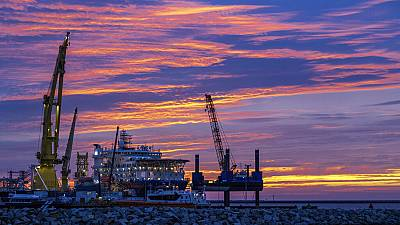 The Russian Nord Stream 2 pipe-laying ship 'Akademik Tscherski' moored at the port of Mukran on the island of Ruegen, Germany