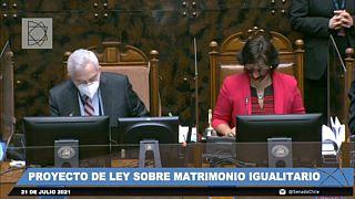 A chilei szenátus szavazás közben július 21-én