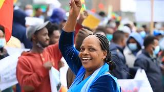 Government supporters  celebrate the second  filling of Grand Ethiopian Renaissance Dam