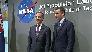 El presidente del Gobierno español, Pedro Sánchez, junto al alcalde de Los Ángeles, Eric Garcetti
