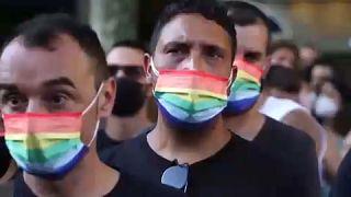 Protesta en Barcelona por el asesinato de Samuel Luiz.