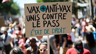 """A protestor holds a banner reading """"Vax and anti-vax are united against the pass"""" in France"""