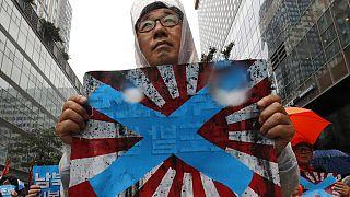 """Güney Kore'nin başkenti Seul'de Japonya'nın imparatorluk dönemi kullandığı """"doğan güneş"""" temalı bayrağı protesto eden bir vatandaş."""