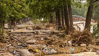 Debris field caused by flooding near the river Ahr in Bad Neuenahr, Germany.