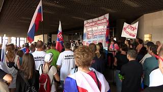 Protesters blocked entry to Slovakia's parliament
