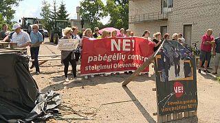 Protesta en Lituania contra la llegada de personas migrantes desde Bielorrusia