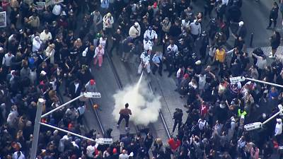 Police clashed with protesters in Australia on Saturday