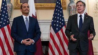 وزير الخارجية الأمريكي أنتوني بلينكين يرحب بوزير الخارجية القطري محمد بن عبد الرحمن بن جاسم آل ثاني، واشنطن، 22 يوليو / تموز 2021