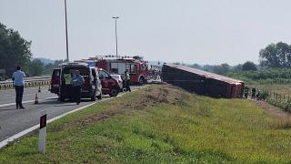 Emergency crews work at the site of a bus accident near Slavonski Brod, Croatia