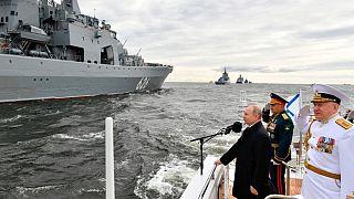 حضور ولادیمیر پوتین در رژه نیروی دریایی روسیه