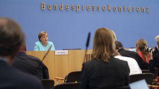 German Chancellor Angela Merkel speaking in Berlin
