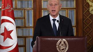 Tunisian President Kais Saied at the Carthage Palace outside the capital Tunis, Feb. 27, 2020.