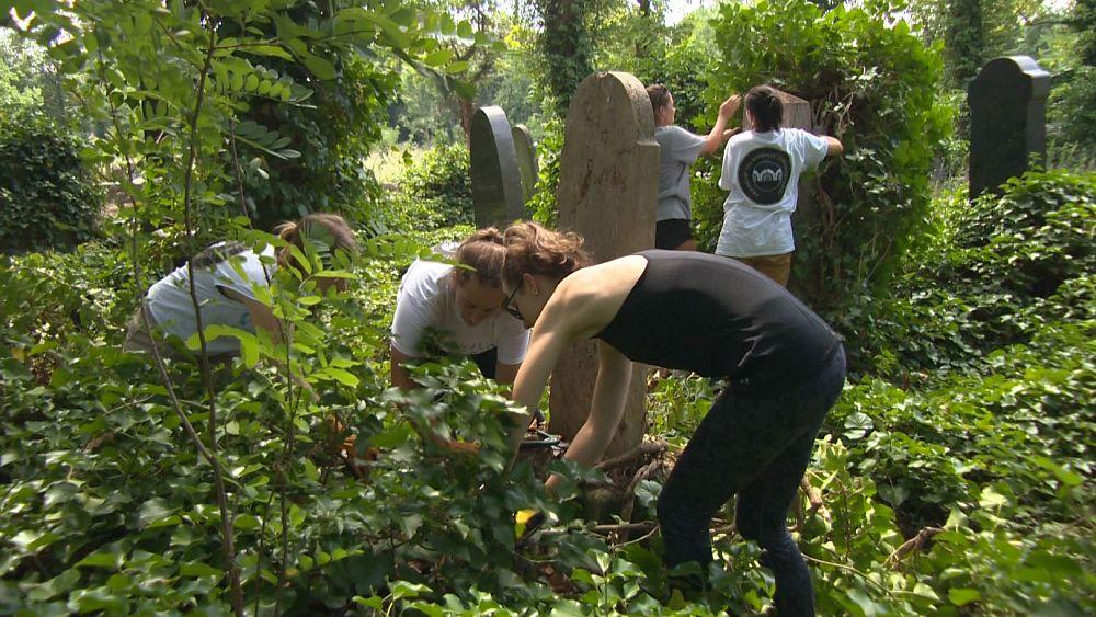 Külföldi önkéntesek tatarozták a Kozma utcai zsidó temetőt