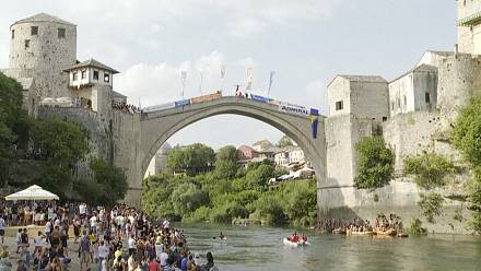 Traditional diving competition from the Old Bridge in Mostar