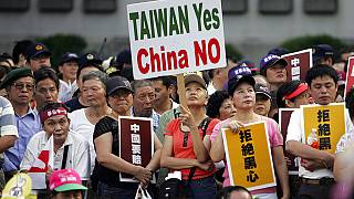 In this Oct. 25, 2008, file photo, tens of thousands of Taiwan supporters rally to denounce China in Taipei, Taiwan.