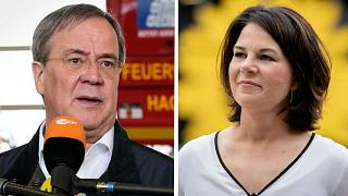 CDU candidate Armin Laschet (L) is currently governor of North Rhine-Westphalia, while Annalena Baerbock serves as the German Green Party co-chairwoman.