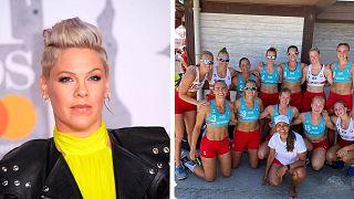"""Pink said on Twitter she was """"proud"""" of the Norwegian women's beach handball team."""