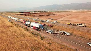 حادث مروري دام قرب مدينة كانوش في ولاية يوتا الأميركية. 2021/07/25