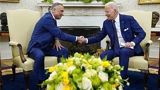 Joe Biden és Musztafa Al-Kadhimi a Fehér Házban 2021. július 26.