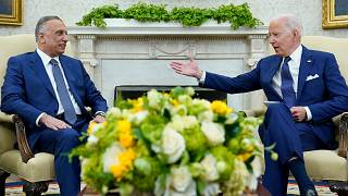 President Joe Biden, right, and Iraqi Prime Minister Mustafa al-Kadhimi during their meeting in the Oval Office of the White House in Washington, July 26, 2021.