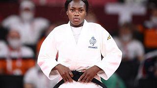 La Française Clarisse Agbegnenou en quart de finale du judo féminin -63kg lors des J0 de Tokyo le 27/07/2021