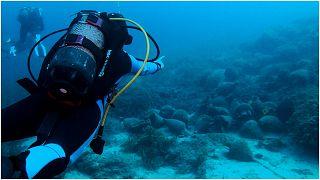 غوّاصون يستمتعون بمشاهدة الآثار في متحف يوناني تحت الماء قرب جزيرة ألونيسوس في بحر إيجه