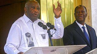L'ancien président ivoirien Laurent Gbagbo et son successeur encore au pouvoir Alassane Ouattara au palais présidentiel d'Abidjan, 28 juillet 2021