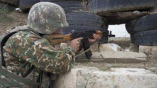 Ein armenischer Soldat im Bergkarabach-Konflikt, 21.10.2020