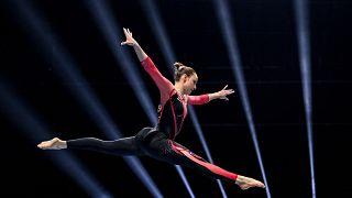 Sarah Voss német tornásznő a bázeli Európa bajnokságon