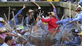 Participants of the Fischertag jump with their 'Baeren' hand nets into the stream in Memmingen.