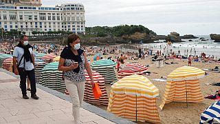 Maskenpflicht im Freien in Biarritz