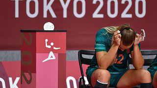 A magyar Klujber Katrin az orosz csapat elleni női kézilabda mérkőzésen