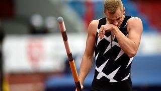 Le perchiste Sam Kendricks, lors du meeting d'athlétisme IAAF Golden Spike 2021 à Ostrava, le 19 mai 2021.