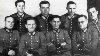 Roman Shukhevych, second from left, pictured with a battalion created by the German Nazis in 1942